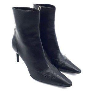 Ralph Lauren Collection Black Leather Heel Boots